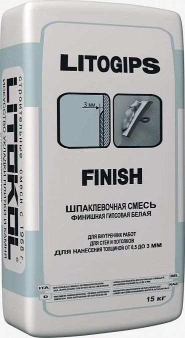 Шпаклевка LITOKOL LITOGIPS FINISH / ЛИТОКОЛ ЛИТОГИПС ФИНИШ (15 кг)